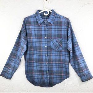 Brandy Melville blue plaid flannel button down top